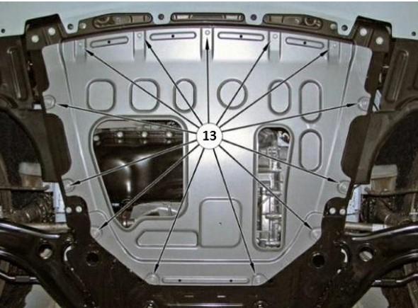 Снятие защиты двигателя на Лада Веста