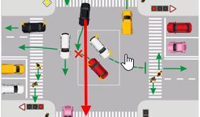 Поворот налево на перекрестке - пропуск встречного транспорта